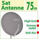 "Dur-line Alu- Sat Spiegel 75/80 cm; anthrazit; 3x Test ""sehr gut""; High End"
