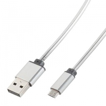 1 m Micro USB B Ladekabel High End, Edelstahlmantel, Metallstecker