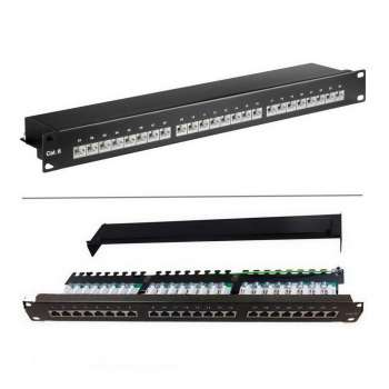 Goobay 19 Zoll Patch Panel 24 Port, Cat 6, STP geschirmt, Patchfeld, LSA Technik