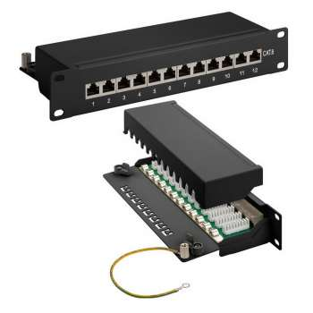 Goobay 10 Zoll Patch Panel 12 Port, Cat 6, STP geschirmt, Patchfeld, LSA Technik
