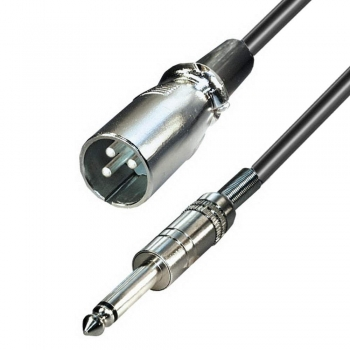 5,0 m XLR-Cannon Mikrofon-Adapterkabel; XLR Stecker an 6,3 mm Klinke Stecker
