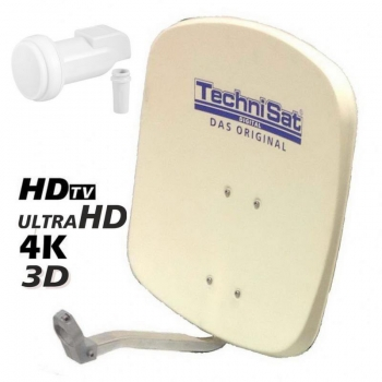 Technisat DigiDish 45 cm + Super-Single LNB 0,1 dB; 1 Anschluss; HDTV, 3D; beige; für Wandmontage