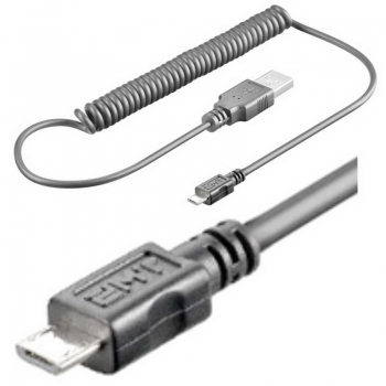 1,0 m Micro USB Spiral-Kabel [Datenkabel, Ladekabel]; für Handy, Tablett