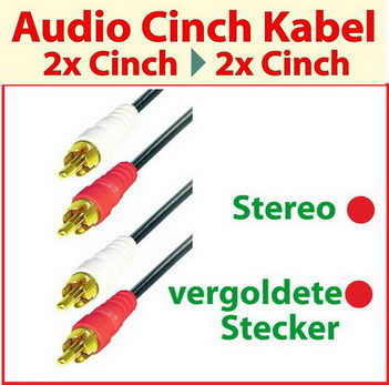 5,0 m Audio - Cinch Kabel ; vergoldete Stecker ; Stereo ; Home Cinema Qualität