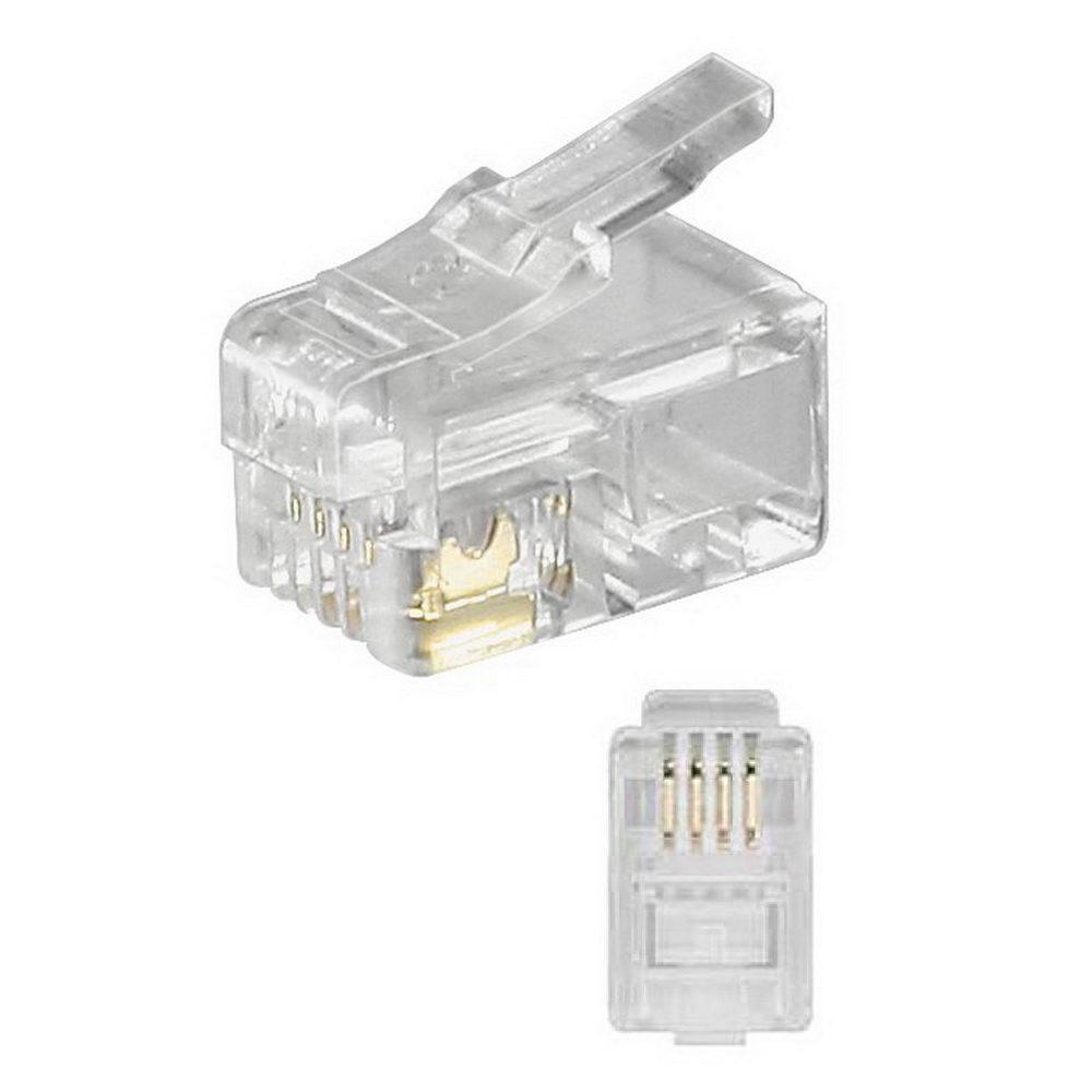 10x rj10 westernstecker für flachkabel, modular-, telefon-stecker