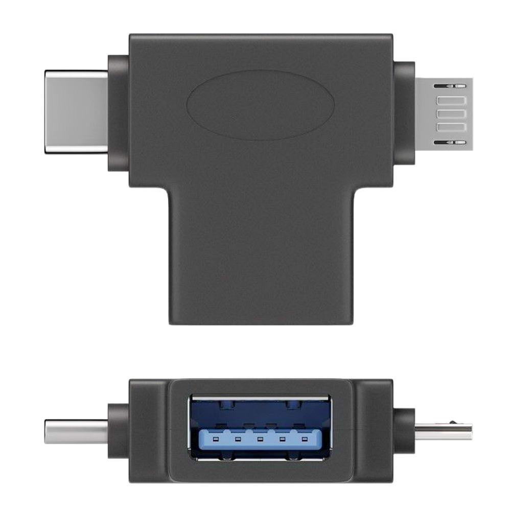 T-Doppel-Adapter: USB-A Buchse auf USB Micro-B Stecker und USB-C ...