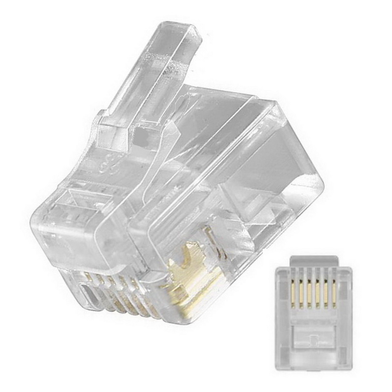 10m 2* RJ12 Western Stecker Telefon Kabel 6p6c 6-polig belegt schwarz 1:1