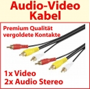 20 m Audio-Video Kabel Premium ; vergoldet; 1x Video und 2x Audio Stereo